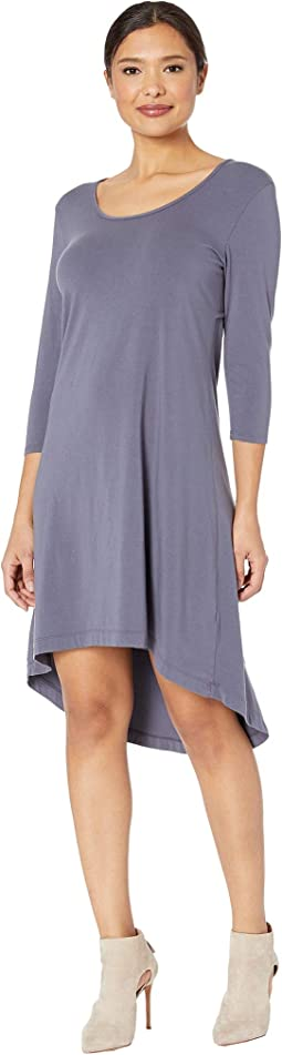 Cotton Modal Spandex Jersey High-Low Hem Dress with Keyhole Back