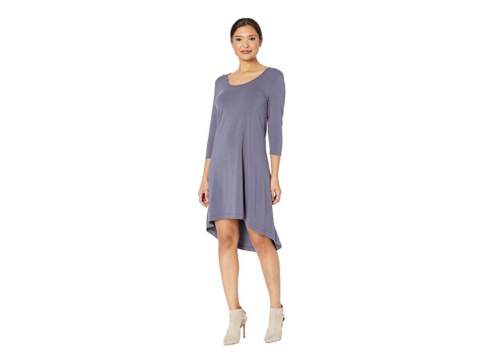 Mod-o-doc Cotton Modal Spandex Jersey High-Low Hem Dress with Keyhole Back (Shady) Women