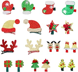 Alpurple 20 Pieces Christmas Hair Clips Lovely Christmas Barrettes Xmas Tree Hat Bowknot Hairpins for Women Girls