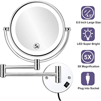 Chrome C3152-1 Round Miusco 10X Magnifying Two Sided Wall Mount Makeup Mirror 8 inch