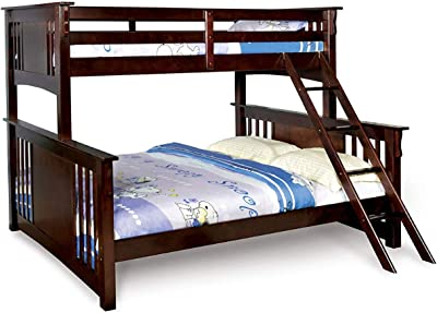 Benjara Twin XL Over Queen Size Wooden Bunk Bed with Attached Ladder, Brown