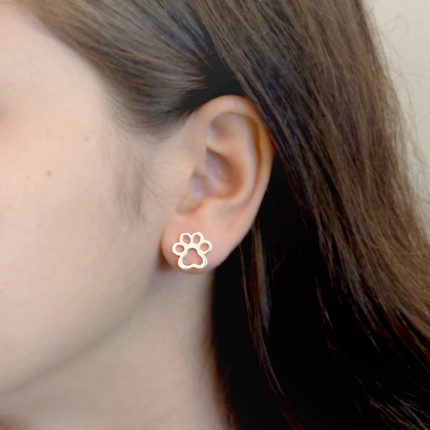 Amazon.com: Sterling Silver Paw Print Stud Earrings: Clothing, Shoes & Jewelry