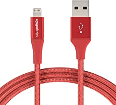 AmazonBasics Double Braided Nylon Lightning to USB A Cable, Advanced Collection - MFi Certified iPhone Charger - Red, 6-Foot