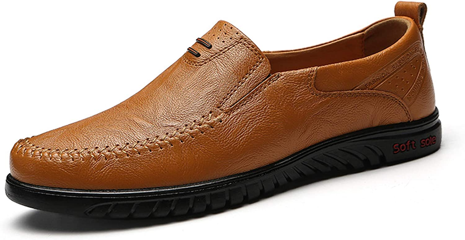 Ezkrwxn Mens Leather shoes Slip on Loafers shoes Breathable Driving shoes Fashion