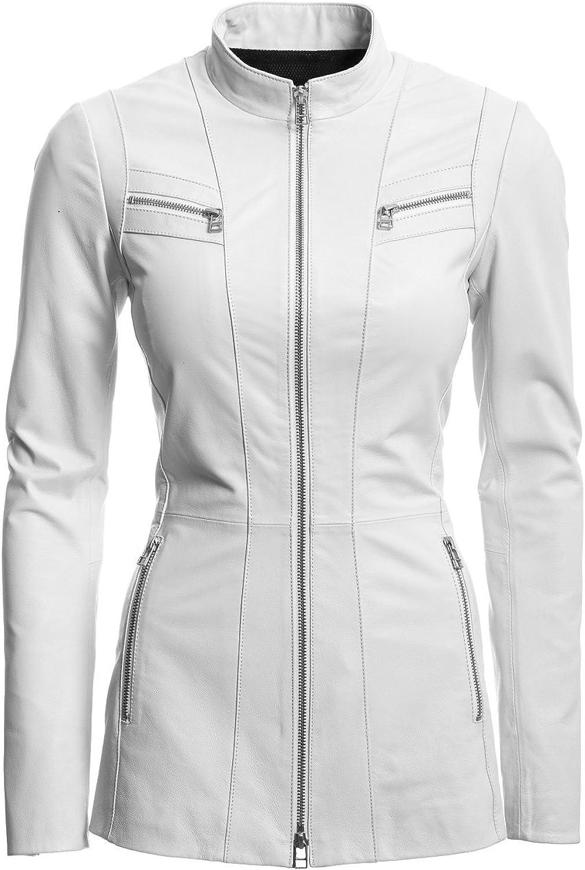 Classyak Women Fashion Leather Jacket White pink, Xs  4XL