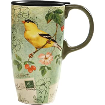 CEDAR HOME Coffee Ceramic Mug Porcelain Latte Tea Cup With Lid in Gift Box 17oz Give Thanks Cardinal
