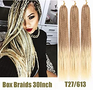 Crochet Box Braids Hair 3Packs 30Inch Long Pre-Twists Style Ombre Blonde 27/613 Jumpo Box Braids 3X Medium Crochet Hair Synthetic Braiding Hair (27/613)