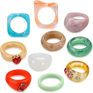 BMMYE 12Pcs Resin Rings for Women Retro Acrylic Colorful Chunky Rings Pack Clear Plastic Gem Rhinestone Bands Diamand Finger Ring for Adult Womens Beach Jewelry