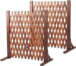 uyoyous Extendable Instant Fence 2 Pcs Expandable Freestanding Wood Garden Trellis Fence Retractable Wooden Fence Gate Pla...