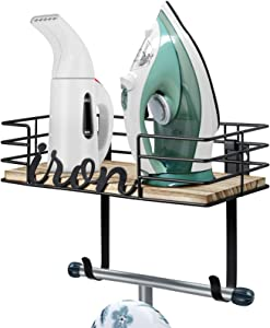 TJ.MOREE Ironing Board Hanger Wall Mount - Laundry Room Iron and Ironing Board Holder, Metal Wall Mount with Large Storage Wooden Base Basket and Removable Hooks (Black)
