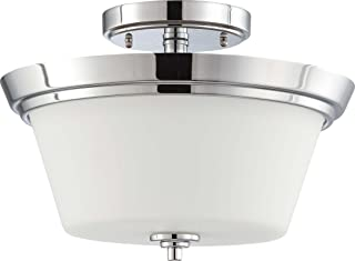 Nuvo Lighting 60/4087 Two Light Bento Semi-Flush Dome in Satin Glass and Polished Chrome