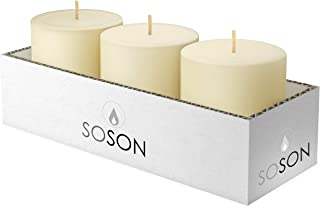 Simply Soson 3 x 3 Inch Ivory Unscented Pillar Candle Bulk Set - Dripless, Scent Free Paraffin Wax Candle Pillars - Medium Size Wedding or Home No Drip Candles - 3 Pack