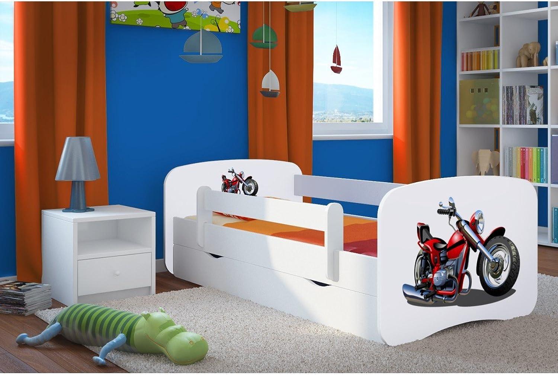 CARELLIA 'Kinderbett 80cm x 180cm Moto mit Barriere Sicherheitsschuhe + Lattenrost + Matratze Offert.–Wei