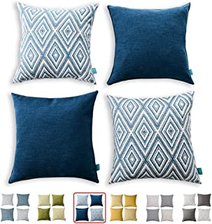 "HPUK Set of 4 Decorative Throw Pillow Covers Geometric Design Cushion Pillowcases for Couch Sofa Bed Car, 17""x17"", Navy Blue"