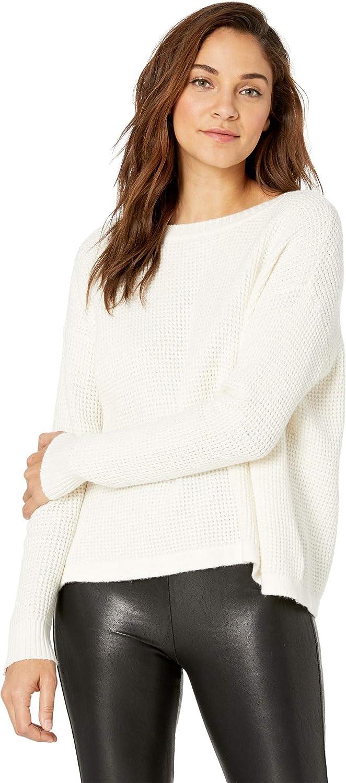 1.STATE Womens Waffle Stitch VBack LaceUp Sweater