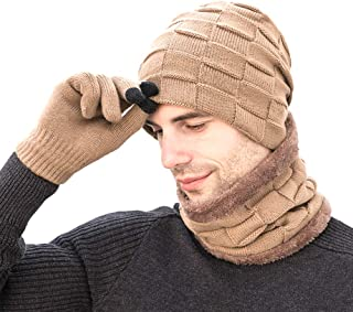 VKAM Winter Beanie Hat Scarf Set Warm Knit Hat Thick Fleece Lined Skull Cap for Men Women 3-Pieces
