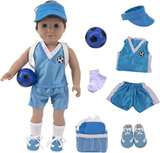 Luckdoll 7Pcs Sports Clothes and Accessories for 18 inch American Boy Doll&43cm New Born Baby Doll Include T-Shirt Shorts ...