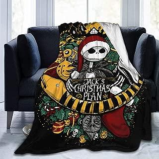 Flannel Fleece Throw Blanket for Winter Farmhouse Beach, Super Soft Jack Skellington Christmas Tattoo Style Fan Poster Halloween Throw, Quality Wrinkle-Resistant 80x60 Inch
