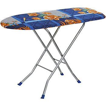 "Flipzon Wooden Self Standing 18"" Unique Folding Premium Ironing Board with Iron Stand - (Color May Vary, Multi-Color) - (Make in India)"