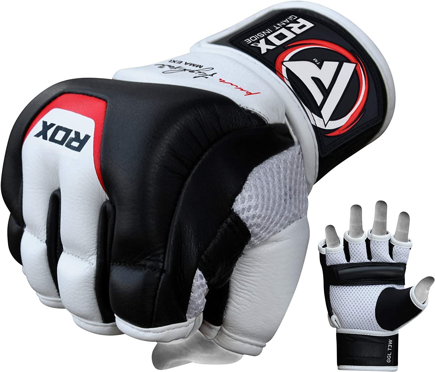 RDX MMA Gloves for Martial Arts Training and Sparring, Cowhide Leather Mitts for Grappling, Kickboxing, Muay Thai, Punching Bag & Cage Fighting : Sports & Outdoors