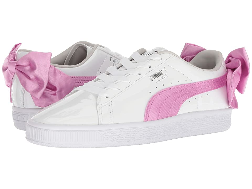 Puma Kids Basket Bow Patent (Big Kid) (Puma White/Orchid/Gray/Violet) Girl