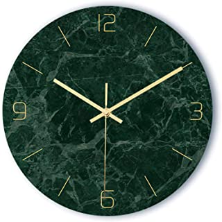 Modern Marble Texture Wall Clock, Silent Non Ticking Battery Operated Vintage Round Clocks Decorative, for Kitchen, Home, ...