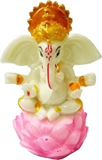 Sahishnu Online And Marketing Ganesha Idol Statue in Lotus Flower, Hindu God Good Luck Success, 3.5 Inches