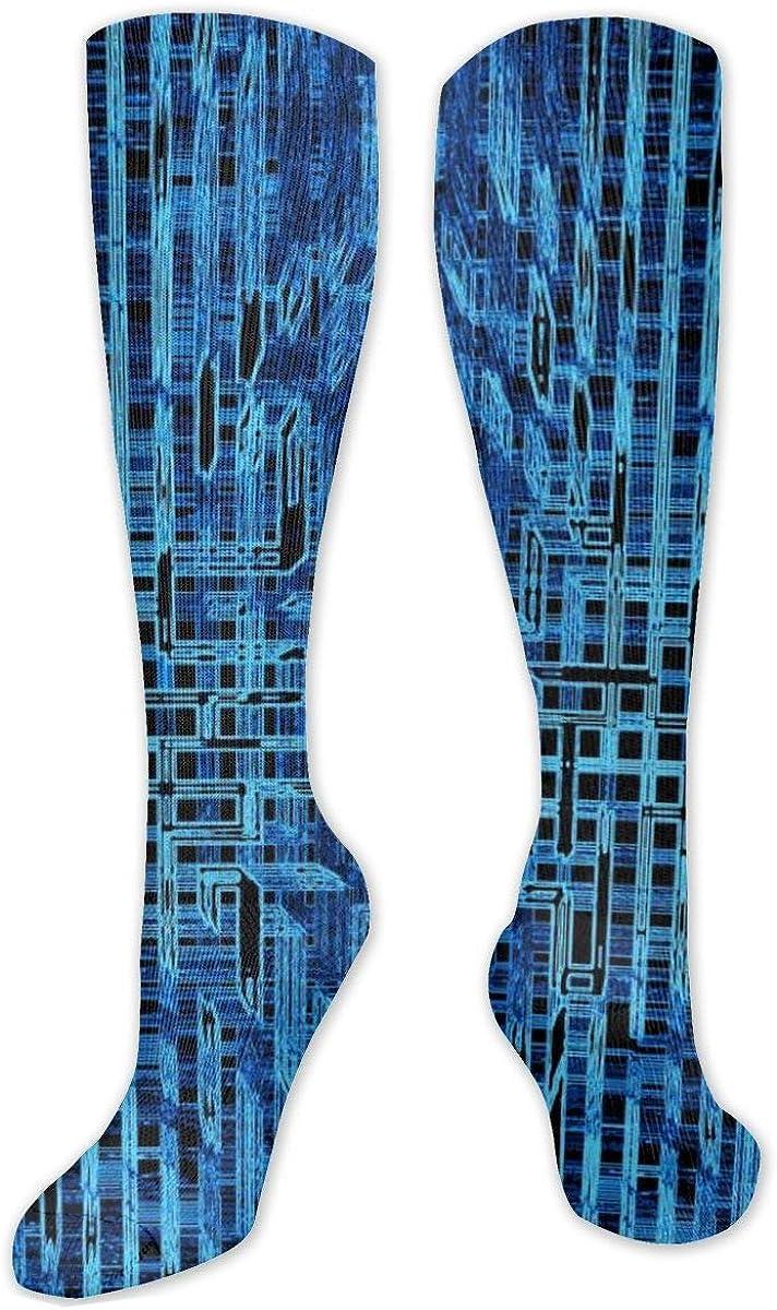 Blue Black Data Geometry Pattern Knee High Socks Leg Warmer Dresses Long Boot Stockings For Womens Cosplay Daily Wear