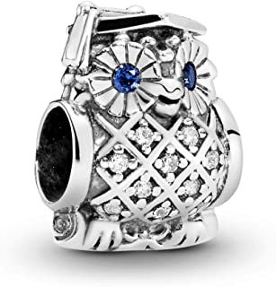 Pandora Women's Silver Owl Silver Charm with Swiss Spacer Charm - 791502NSB