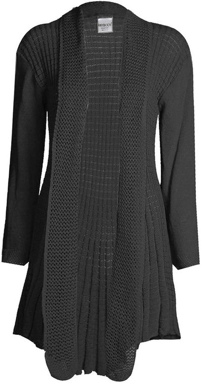 Cima Mode Womens Plus Size Plain Crochet Knitted Waterfall Cardigan Sweater 8-22