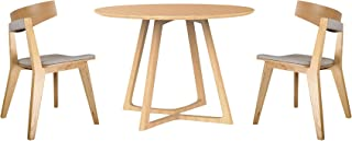 Vifah Malmo Ashtree Round Dining Table and Armless Chairs, Light Brown