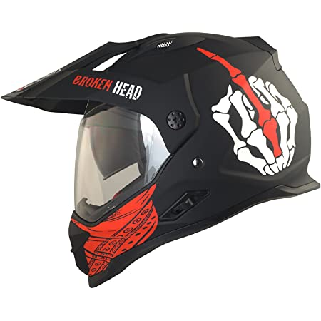 Broken Head Street Rebel Cross Helm Rot Mit Visier Enduro Helm Mx Motocross Helm Mit Sonnenblende Quad Helm M 57 58 Cm Auto