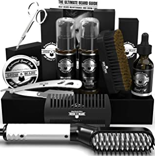 Beard Straightener Grooming Kit for Men, Beard Brush, Double Side Comb, Unscented Growth Oil, All Natural Chanel Balm, Sha...