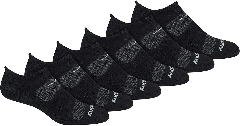 Saucony Mens Multi-pack Mesh Ventilating Comfort Fit Performance No-show Socks