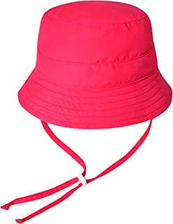 Vaenait baby Kids Unisex Sun Hat UPF 50+ Breathable Bucket Sun Protection Play Hat with Adjustable Chin Strap Mesh Lining - Pink - S (1-3T)
