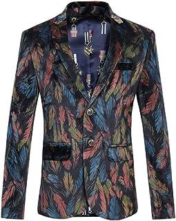 HZCX FASHION Men's Leave Printed Velvet Slim Fit Two Button Casual Blazer