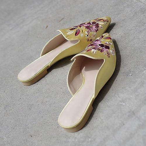 DHG Pantoufle Porter à la Tête à Fond Plat Brodé Baotou Mode Paresseux Sandale Mule Chaussures,Jaune,36