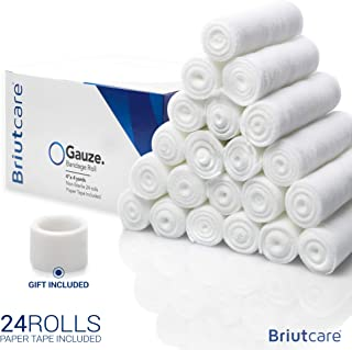 Briutcare Gauze Bandage Rolls 24 Bulk Pack 4 Inch x 4 Yards FDA Approved | Medical Stretch Wrap | First Aid kit and Wound Care Supplies Cotton Ply Rolled Hand Wrap Ankles and Knees Bonus Medical Tape
