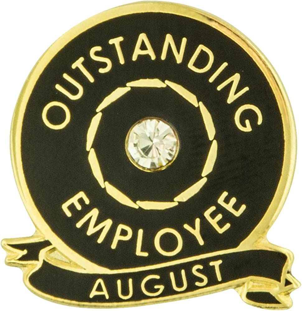 PinMart Outstanding Employee of The Month August w Rhinestone Enamel Lapel Pin