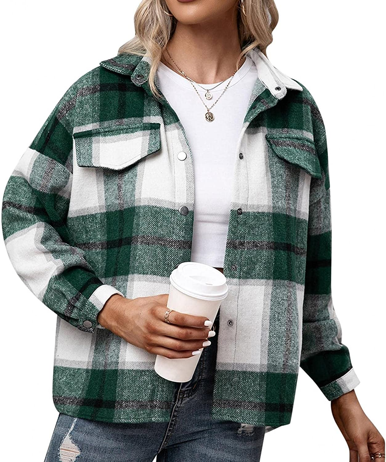 GXLONG Women Plaid Jacket Ladies Long Sleeve Casual Shirt Coat Botton Down Color Block Blouse Open Front Top with Pockets