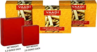 Sandalwood Soap (DOUBLE SIZE) - Handmade Herbal Soap (Aromatherapy) with 100% Pure Essential Oils - ALL Natural - Natural Skin Whitener - Each 5.3 Oz - Pack of 3 (1 Lb)
