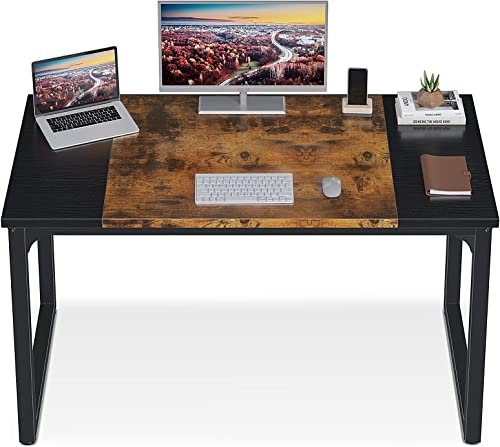 """discount ODK Computer Desk 39"""" with Splice online sale Board, Study Writing Table for Home Office, Modern discount Simple Style PC Gaming Desk, Black and Rustic Brown outlet sale"""