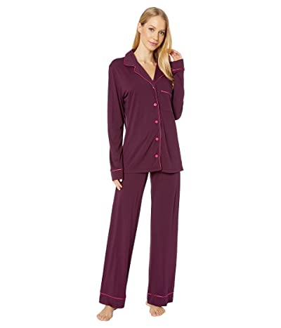 Cosabella Bella Long Sleeve Top Pants PJ Set (Mulberry/Victorian Pink) Women