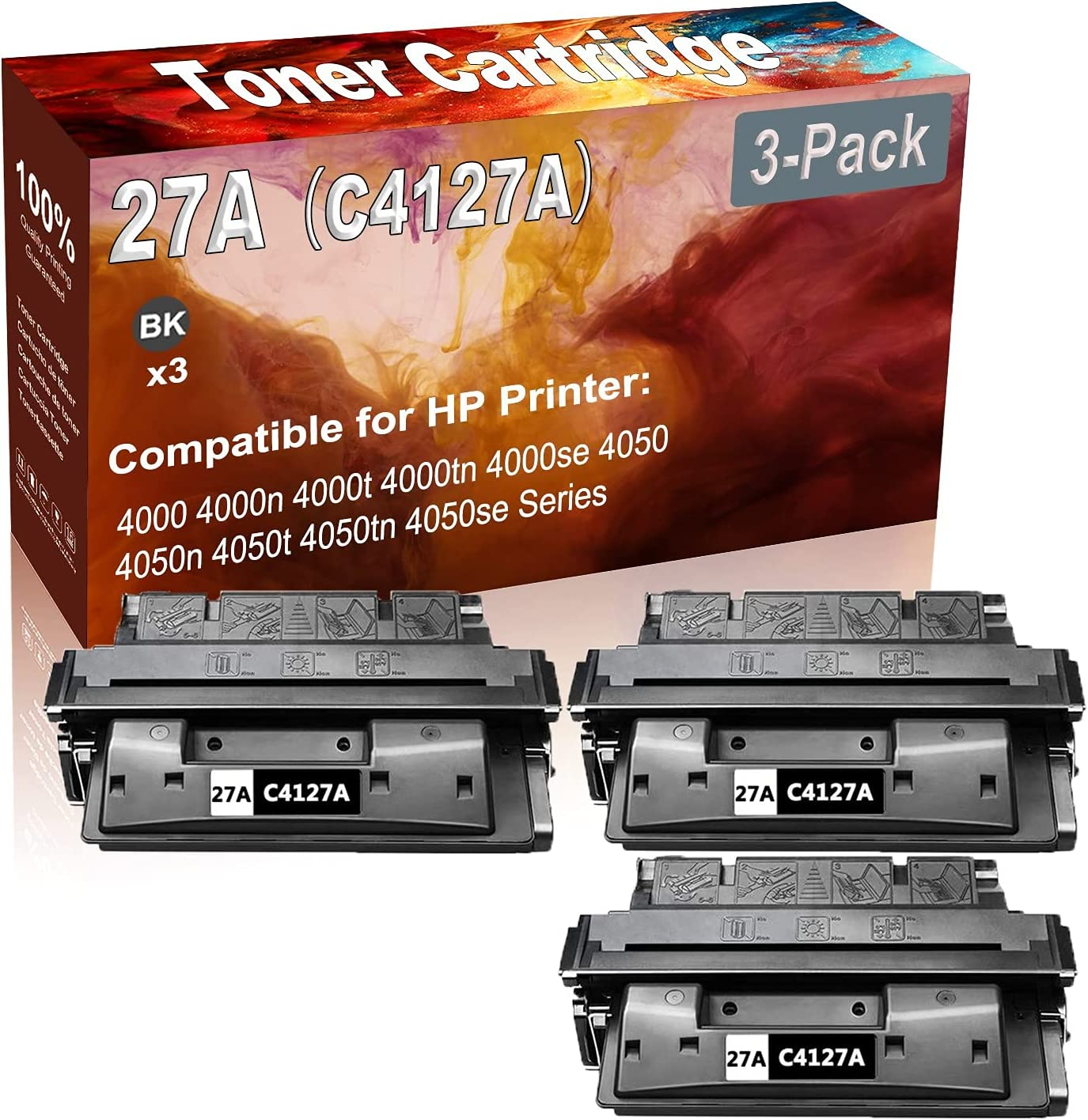 3-Pack (Black) Compatible 27A (C4127A) Printer Toner Cartridge (High Capacity) fit for HP 4000 4000n 4000t Printer