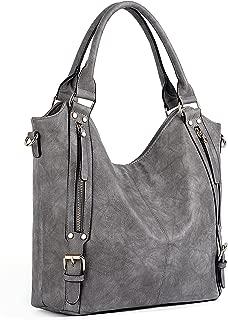 UTO Women Handbags Hobo Shoulder Bags Tote PU Leather Handbags Fashion Large Capacity Bags Grey