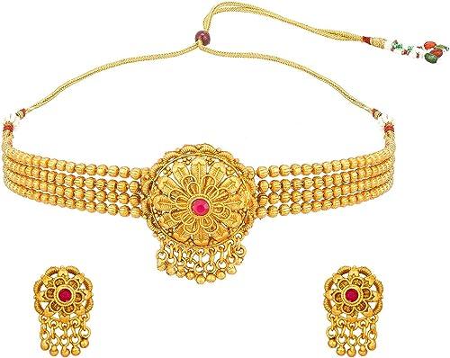Fashion Jewellery Latest Trendy Designer Gold Plated Heavy Work Jewellery Set For Women Girls