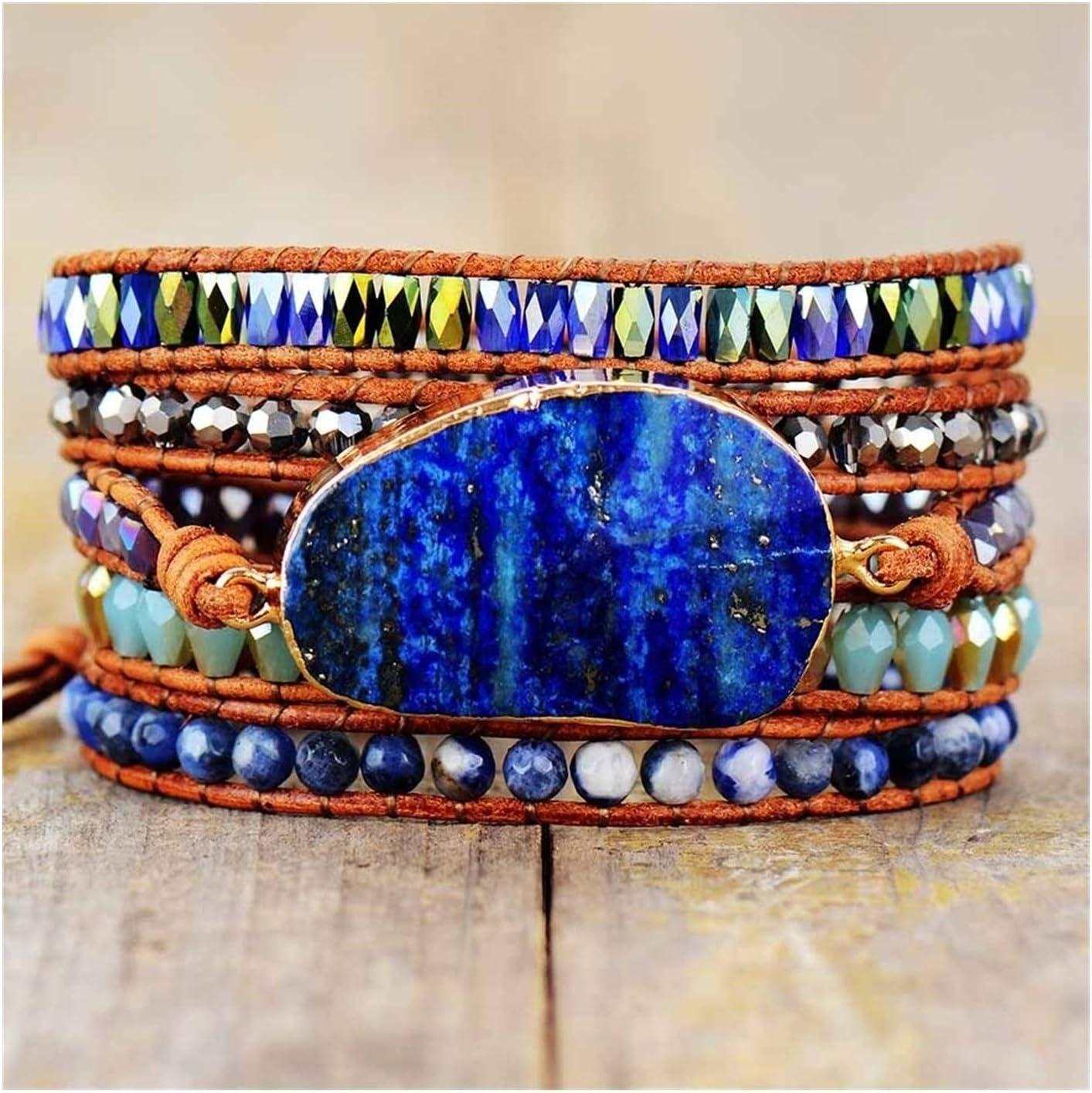 AOSUAI Wrap Bracelets with Phoenix Mall Natural Stones Lazuli Philadelphia Mall S Lapis Leather