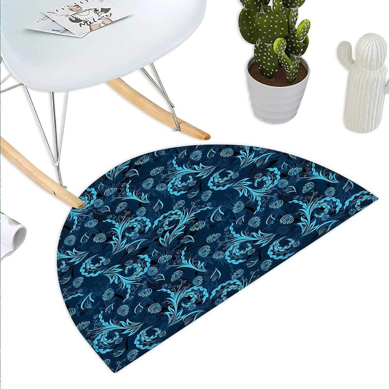 bluee Semicircle Doormat Abstract Damask Inspired Curvy Flower Figures Ornate Flourish Royal Revival Retro Halfmoon doormats H 39.3  xD 59  Indigo Aqua