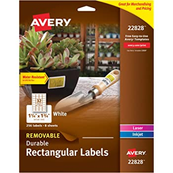 """Avery Removable Labels with Sure Feed for Laser & Inkjet Printers, 1.25"""" x 1.75"""", 256 Labels (22828), White"""