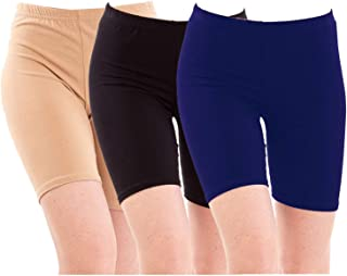 Pixie Biowashed 220 GSM Cotton Lycra Cycling Shorts for Girls/Women/Ladies Combo (Pack of 3) Beige, Black and Navy Blue - Free Size